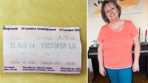 Dieses Ticket hat Angie in einer Hose gefunden - dort sieht man, wann ihr diese Hose zuletzt gepasst hat.