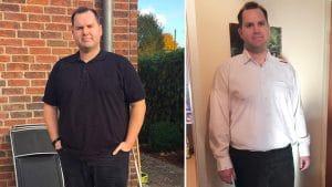 Hier ist Patrick zu Beginn seiner Sanguinum Stoffwechselkur zu sehen - und 5 Monate nach dem Start, mit 20 Kilo weniger.