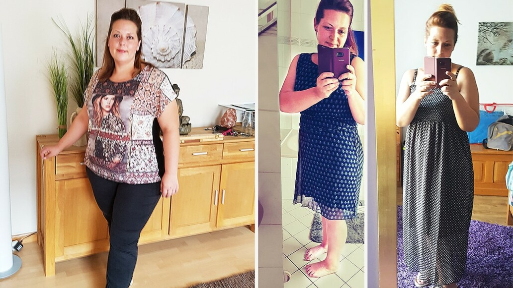 Vorher-Nachher-Bild der Abnehmbloggerin Kathrin
