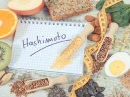 Nutritious ingredients and inscription hashimoto. Healthy food containing vitamins. Problems with thyroid concept 1